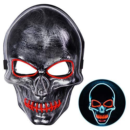 Joyjoz Máscara de Halloween con luz LED, máscara de Miedo para Adultos con 3 Modos de luz para Festivales, Cosplay, Halloween, Fiestas de Disfraces, Carnaval, Regalos para niños, Color Negro