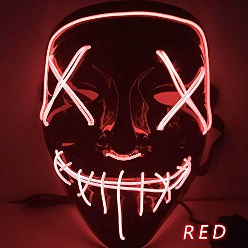 IMPORTUDO MX Mascara con LUZ LED LA Purga Halloween The Purge Colores Calidad (Rojo)