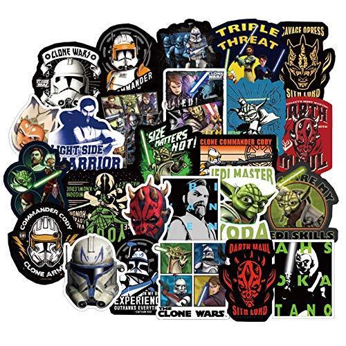 NANANA - Pegatinas de Star Wars Clone Wars The Mandalorian para bricolaje, motocicleta, coche, bicicleta, monopatín, portátil, guitarra, 100 unidades