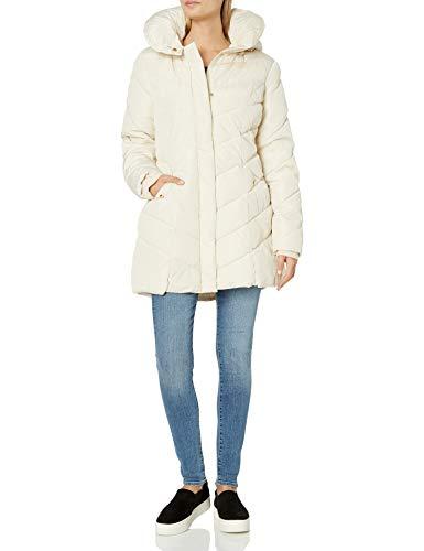 Steve Madden Chaqueta de abrigo acolchada larga para mujer, Ivory, M