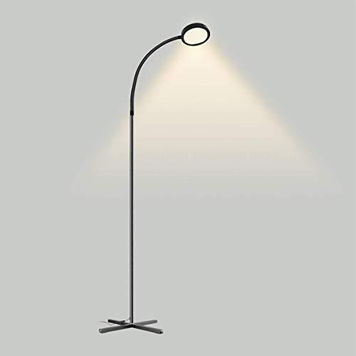 Lámpara de Pie LED, Joly Joy Lámpara 7W con Sensor de Tacto Regulable Luz Ajustable de 360 °Ahorro de Energía Función de memoria de Aprendizaje/Trabajo/Lectura para Salón Dormitorio Iluminación Negro