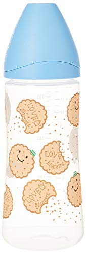 SUAVINEX Biberon Flujo Medio Lovely Biscuits, Azul, 360 Ml, Paquete de 1 Count