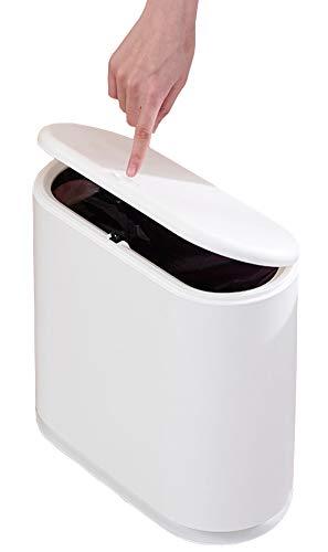 Sooyee - Papelera rectangular de plástico de 10 litros con tapa tipo prensa, contenedor de basura de 2.6 galones para baño, sala de polvo, recámara, cocina, sala de manualidades, oficina color blanco