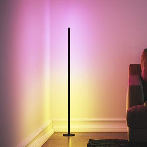 Lámpara de pie LED con cambio de color, lámpara de pie moderna con control de Romote, lámpara de pie de 20 W 61 pulgadas de alto, luz de esquina regulable para sala de estar, dormitorios