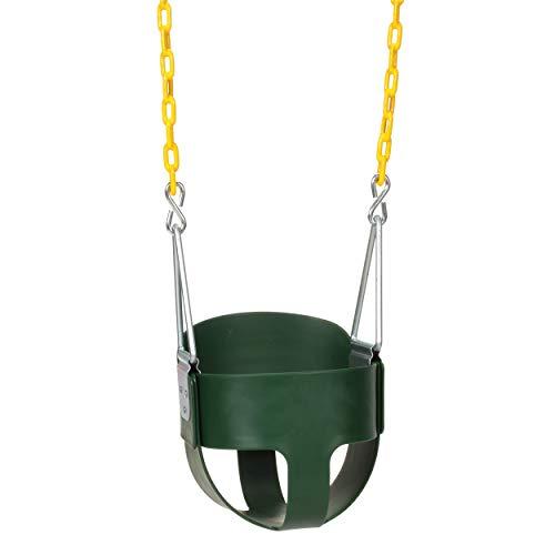 Eastern Jungle Gym Asiento de Columpio para niños con Respaldo Alto de Alta Resistencia, con Cadenas de Columpio revestidas Totalmente montadas, Color Verde