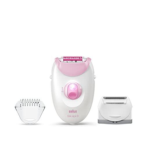 Braun Silk-épil 3-3270 depiladora eléctrica para mujer, con cabezal de afeitadora, tapa de recortadora y tapa de rodillo de masaje (el embalaje puede variar)