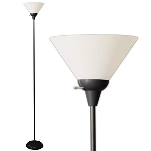 Light Accents - Lámpara de pie para sala de estar, dormitorio, lámparas de lectura brillante con pantalla blanca