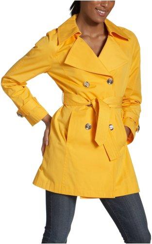 MICHAEL Michael Kors Gabardina doble botonadura para mujer con botones de logotipo, amarillo, (Taxi Yellow), S