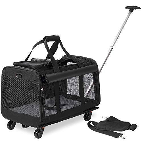 Transportín para mascotas con ruedas desmontables para perros pequeños y medianos y gatos, color negro