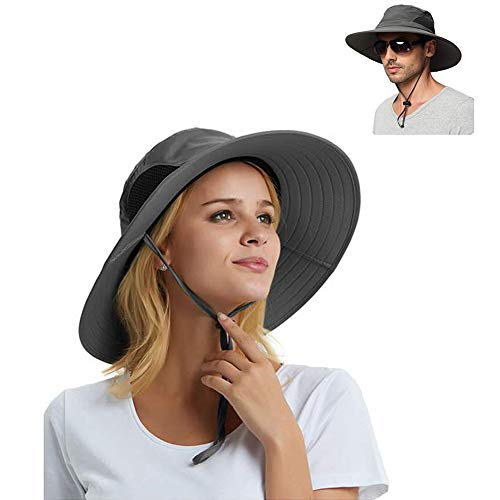 Salandens Sombrero de sol para hombres / mujeres, protección solar al aire libre de verano Sombrero de cubo de ala ancha Sombrero de Boonie impermeable y transpirable para Safari Pesca Senderismo Playa Golf