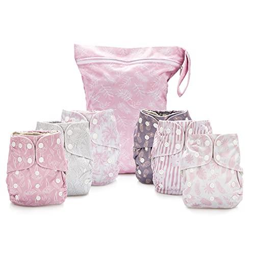 Simple Being Pañales de tela reutilizables, doble refuerzo, paquete de 6 unidades, tamaño ajustable, funda impermeable, 6 insertos, bolsa húmeda (Tropical)