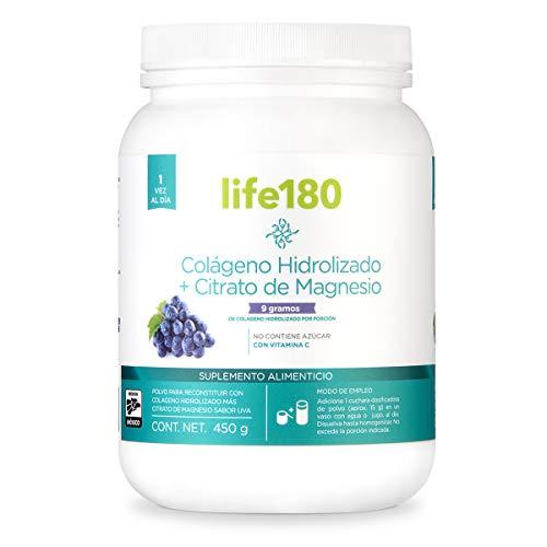 Life180, Colágeno Hidrolizado con Magnesio en Polvo, Sabor Uva, 450gr, 30 Porciones