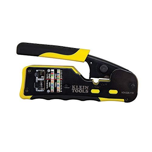 Klein Tools VDV226-110 Crimpadora de alambres/cortador de alambres/pelacables Pass-Thru Herramienta modular todo en uno para vídeo, telecomunicaciones, datos y más