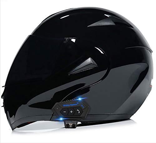 Casco Modular Abatible Bluetooth Casco Integral De Motocicleta Casco De Moto Cascos De Choque Para Bicicleta De Calle Con Visores Duales Antivaho, Matt Black ECE 2, XL=(61~62CM)