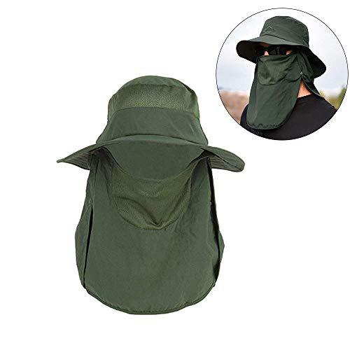 XSRTT Sombrero para el Sol Protector Gorro Pescador Anti-UV UPF50+ Gorra Pesca Solar ala Ancha Transpirable Multiusos con Velo y Mosquitera Protección Cuello Al Aire Libre