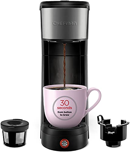 Chefman InstaCoffee Single Serve Coffee Maker Brews Quickly Compatible with K -Cup Pods, Grounds & Loose-Leaf Tea w/Reusable Filter, Compact 14 oz, Black/Stainless Steel, Mug Not Included