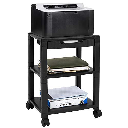 MOUNT-IT! Soporte para impresora móvil con cajón [3] carro AV, altura ajustable con 4 ruedas giratorias y gestión de cables, carrito de medios para impresora 3D con almacenamiento, 3 niveles (negro)