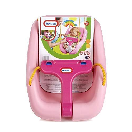 little tikes Snug 'n Secure Columpio 2-en-1 - Juego para Uso al Aire Libre - Juegos de jardín para niños - Fomenta el Juego Activo - Edad: de 9 Meses a 4 años - Rosa