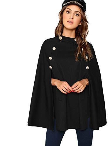 MAKEMECHIC Capa de mujer con botones frontales y mangas elegantes con estampado a cuadros, negro A, XS