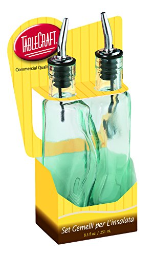 Tablecraft Gemellie - Juego de botellas de aceite y vinagre, tintadas, color verde