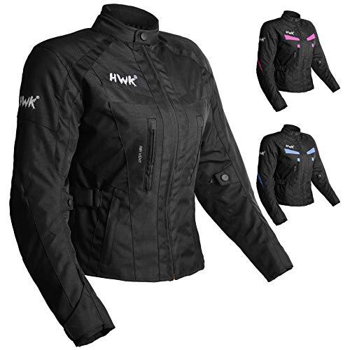 HWK - Chamarra de motociclista Stunt Adventure impermeable para mujer, chamarra de lluvia, blindaje CE Stella