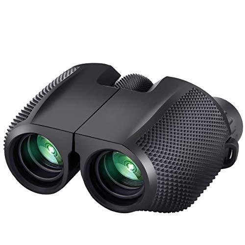 Timotech Binoculares Prisma 10x25 Zoom BAK4 con Enfoque Automático a Prueba de Agua para Senderismo, Campamento, Viajes, Caza, Conciertos | Binoculares para niños Profesional HD con Alta resolución
