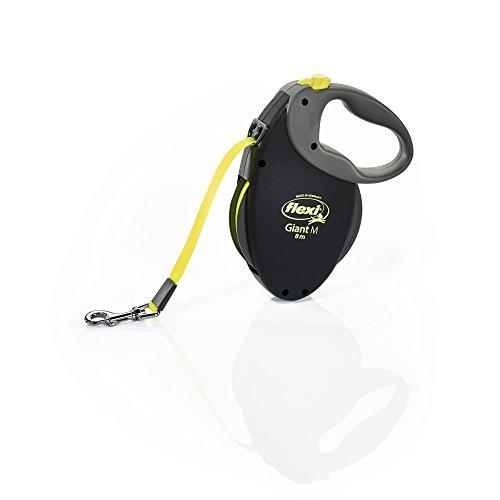 Flexi Giant Medium Retractable Dog Leash (Tape) , 26 ft, Medium, Black/Neon
