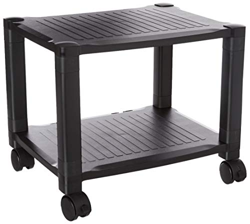 Home-Complete Printer Stand-2-Tier Under Desk Table for Fax, Scanner, Printer, Office Supplies-Compact and Mobile with Wheels for Portable Storage