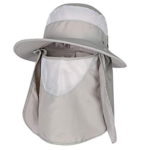 HomeChi Sombrero para sol de pesca al aire libre con solapa de cuello extraíble, Gorra de protección solar UPF 50+ UV, Gorra de protección para verano al aire libre Gorra de pesca de ala ancha para hombre y mujer