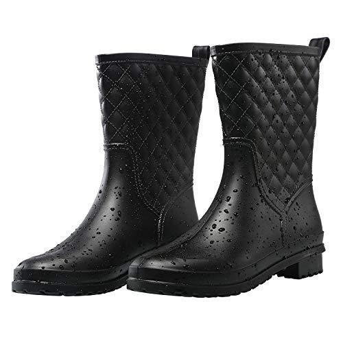 Petrass Botas de lluvia para mujer, color negro, impermeables, a mediados de la pantorrilla, ligeras, lindas, a la moda, para trabajar, cómodos zapatos de jardín, Negro, 6 US