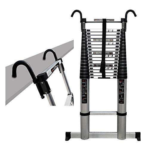 Ladders Escalera Extensible Escalera Telescópica Escalera de Extensión Extra Alta de 7 M / 23 Pies con Ganchos Y Barra Estabilizadora, Escalera Telescópica Portátil para Ático/Techo