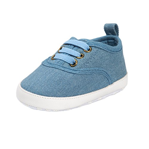 RVROVIC Zapatillas de lona antideslizantes para niños y niñas de 0 a 18 meses, 5365 Denim Ligero, 12-18 Months Toddler