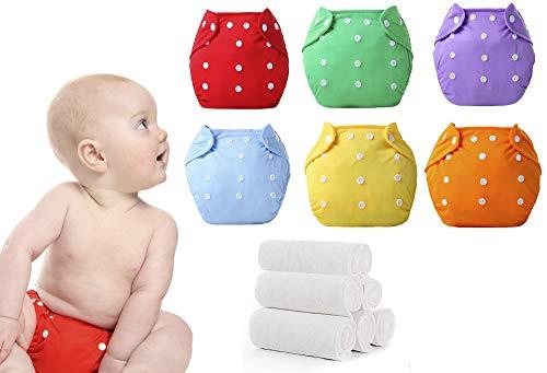 Paquete de 6 Pañales Ecológicos de Tela para Bebe Niño o Niña de 0 a 3 años de Edad, Unitalla,Tamaño Ajustable, Reutilizables, con 6 Inserciones de Microfibra de 3 Capas Incluidos