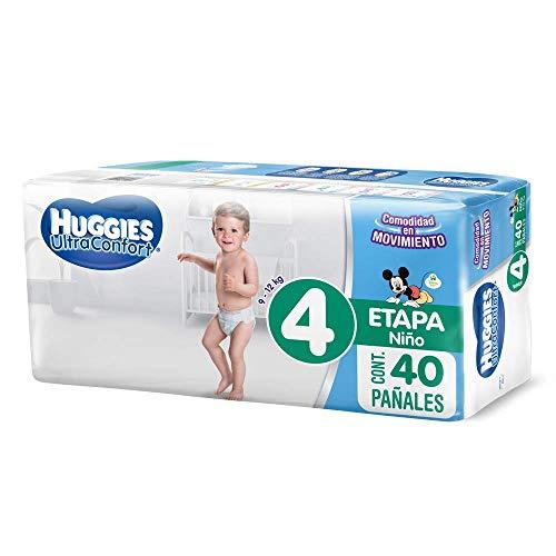 Huggies UltraConfort Pañal Desechable para Bebé, Etapa 4 Niño, Paquete con 40 Piezas, Ideal para niños de9 a 12 kg