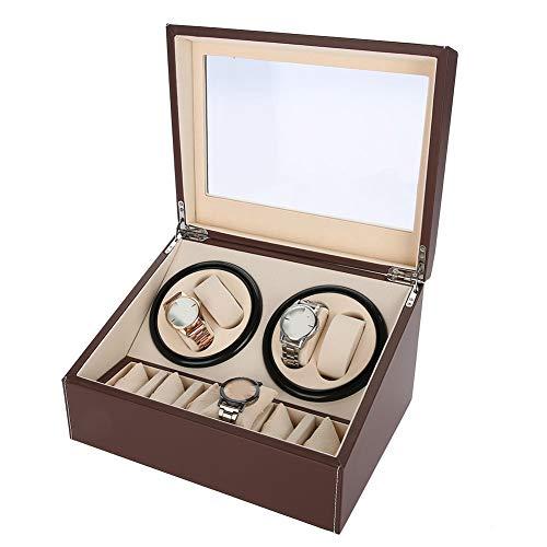 Caja Organizadora de Relojes, Estuche de Enrollador de Rotación Automática para Relojes, Watch Winder Joyero Alhajeros para Hombre y Mujer, 4 + 6 Grids (Marrón)