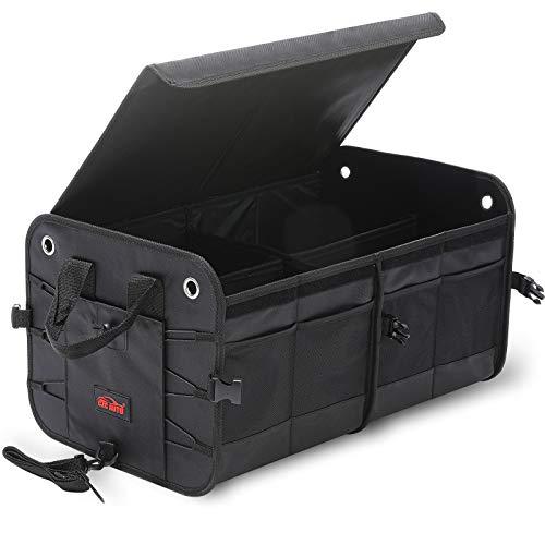 CZC AUTO Organizador de maletero de coche con tapa, plegable, organizador de almacenamiento de alimentos, con 4 compartimentos, antideslizante para coche, todoterreno, camión (negro)