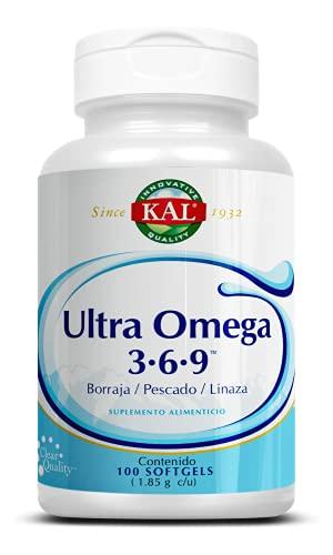 KAL Ultra omega 3-6-9, Aceite de linaza orgánica, Aceite de pescado y Aceite de semilla de borraja/ 100 cápsulas softgel, Adicionado con Vitamina E