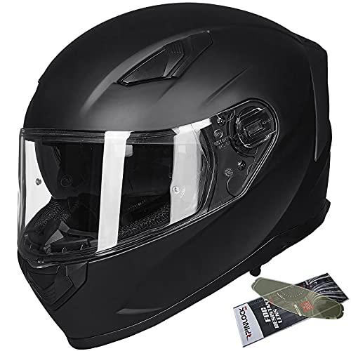ILM Casco integral para moto de nieve con visera doble antivaho, para motocross ATV para hombres y mujeres, DOT (negro mate, M)