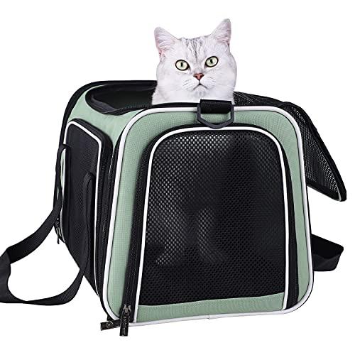 Pettisfam - Transportín suave para gatos medianos y perros pequeños con cama acogedora, 3 puertas, entrada superior | Aprobado por aerolíneas a prueba de escape, transpirable, a prueba de fugas, fácil almacenamiento (verde claro)