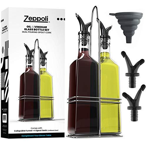 Royal Juego de botella de vidrio para aceite y vinages, con estante de acero inoxidable y corcho extraíble, doble boquilla de aceite de oliva, dispensador de aceite de oliva, 500 ml
