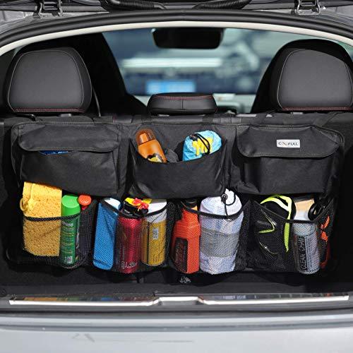 COOFULL - Organizador para cajuela de coche, bolsa colgante de gran capacidad para coche con 7 bolsillos ampliados, 2 barras largas mágicas, bolsa de almacenamiento organizada, color negro