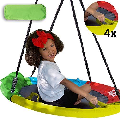 Columpio de platillo grande para niños al aire libre con correas - Columpios redondos para exteriores de 40