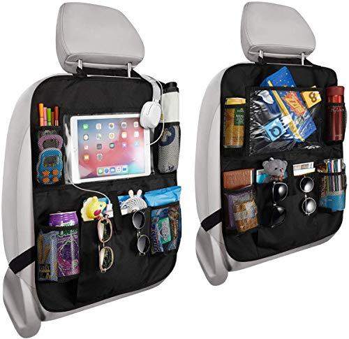 PUBAMALL Organizador para asiento trasero de automóvil y protector con señal de coche para bebé y bebés, asientos de tapicería contra daños (Negro) 2 Pack