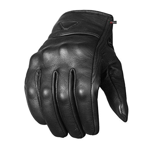 Guantes de cuero prémium con protectores de gel para motocicleta para hombre