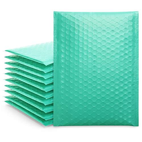 Fuluxury - Bolsas de envío con burbujas pequeñas de color verde azulado de 6 x 10, 50 unidades, sobres de burbujas de polietileno, bolsas de embalaje, bolsas de correo, sobres acolchados, embalaje para pequeñas empresas, boutique, accesorios