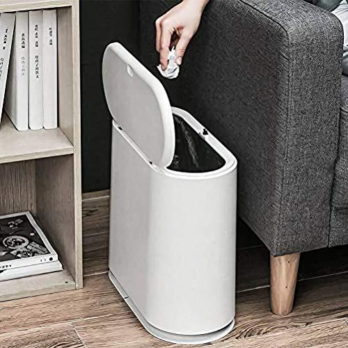 Bote de basura, contenedor de basura delgado de plástico de 10 litros / 2,4 galones con tapa superior a presión, cesto de basura blanco para cocina, baño, sala de estar, oficina, lugar estrecho