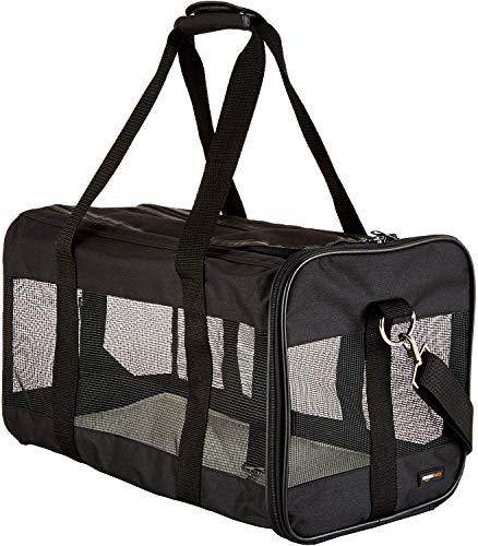 AmazonBasics – Transportín de viaje de malla suave para mascotas Negro, Grande
