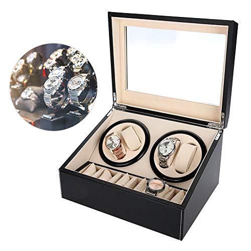 yuyte Caja De Giratorias De Relojes De Relojes De Rotación Automática, Estuche De Almacenamiento para Relojes De Organizadora Y Exhibición, 4 + 6 Grids(Negro)