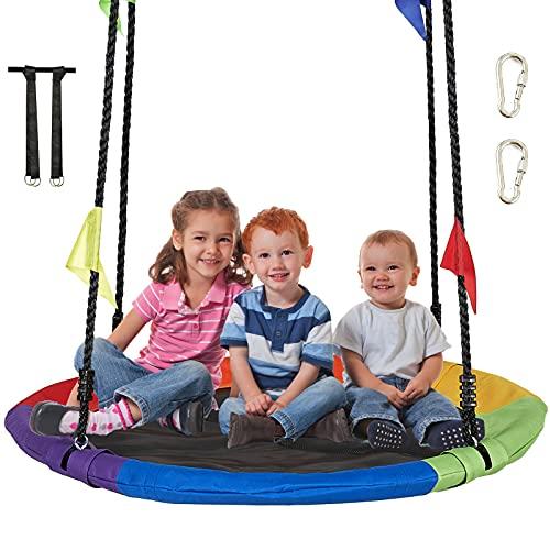 AMGYM - Juego de columpio en forma de platillo de 101.6 cm para niños, con plataforma para exteriores y árbol, cuerdas ajustables y tela Oxford colorida impermeable, columpio seguro y transpirable para niños y adultos