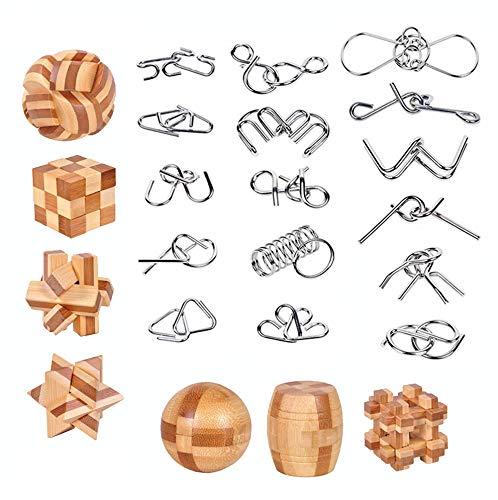 23 Piezas IQ Puzzler Fit Test Rompecabezas Adultos de Metal Juego la Ingenio para Mente Juguetes Educativos Niños y Adolescentes 3D Brain Teaser Wire Set Cubos Alumnos Think Jenga Pensamiento Games